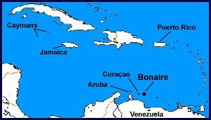 Bonaire is located in the southern Caribbean, close to sister islands Curacao and Aruba.