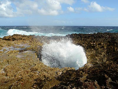 A blow hole in Washington Park on Bonaire