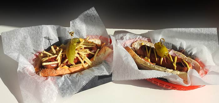 Two of King Kong's hot dog choices: The Junk Yard Dog and the Chicago Dog.