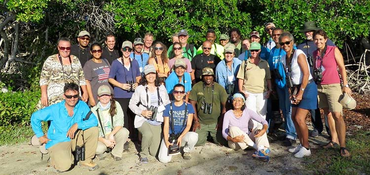 Bonaire's workshop attendees are birding out in the field.