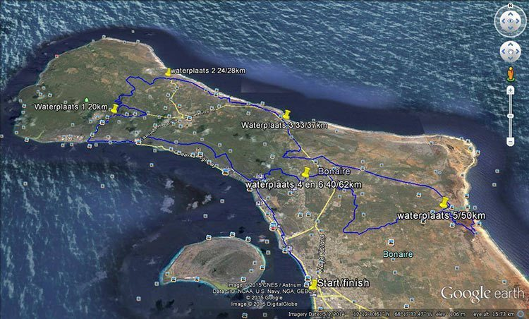 "The ""Xtreme"" route of the Bonaire Duo Xtreme Mountain Bike Race"