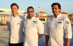 Chef Dhanesh de Kok (middle), Souschef Marijn Koops (left) and Junior Souschef Dior Marchena