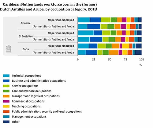 Caribbean Netherlands workforce with those born locally.