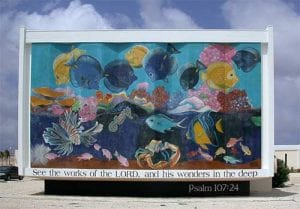Trans World Radio's first underwater mural on Bonaire, from 1998.