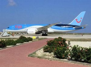 TUIFly Dreamliner on the tarmac at Bonaire International Airport