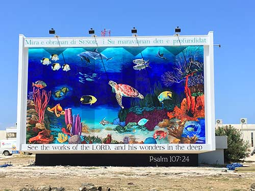 Trans World Radio has renovated their underwater mural on Bonaire.