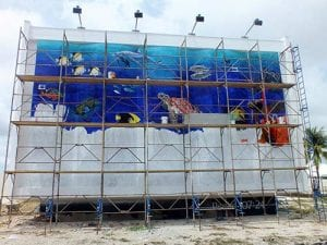 Trans World Radio's second underwater mural on Bonaire, under construction in 2017.