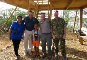 Lt. Governor Edison Rijna opens the new birdwatching tower in Washington Park, Bonaire.