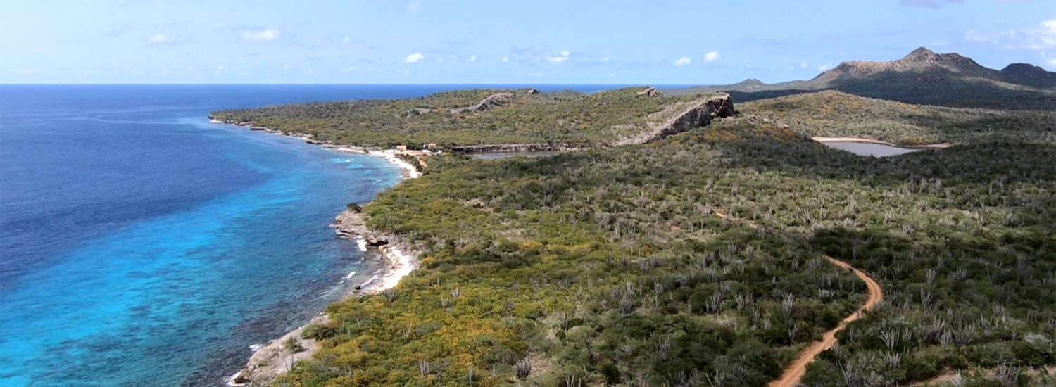 An aerial view of Bonaire's northwestern coastline.