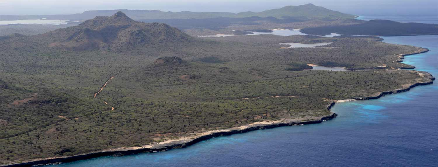 Aerial view of Bonaire's northern tip, taken during a flightseeing tour.
