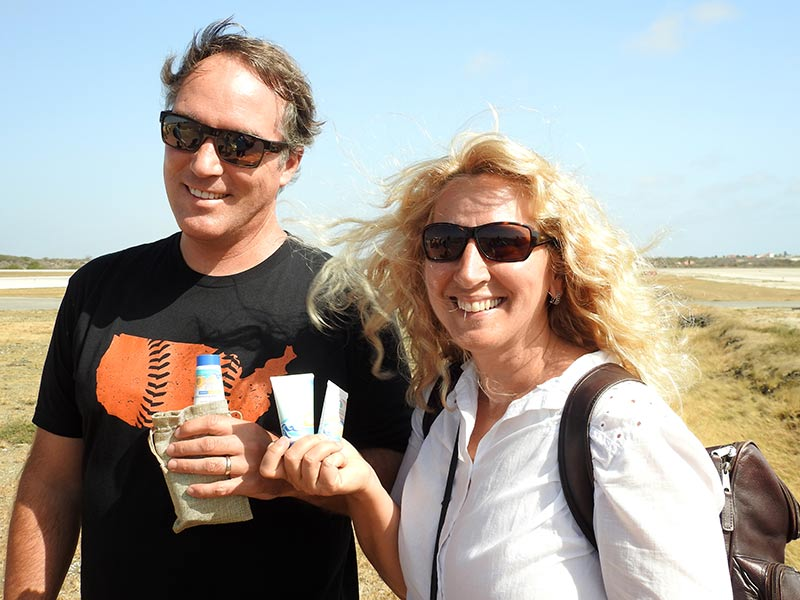Chris and Diane Wightman are glad to receive samples of Stream2Sea reef-safe sunscreen.