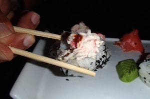 Intricate details of the sushi.