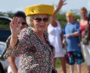 Princess Beatrix on an earlier visit to Bonaire.