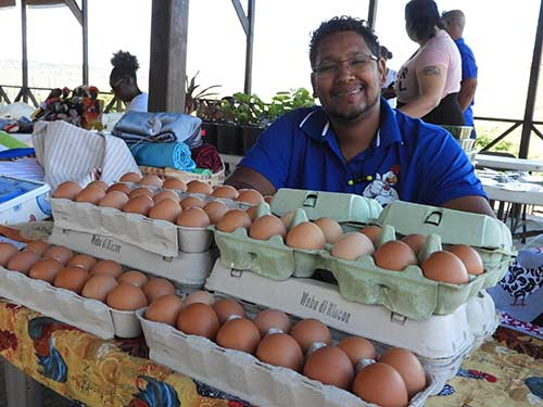 Fresh locally produced eggs are available at the Nos Zjilea market.