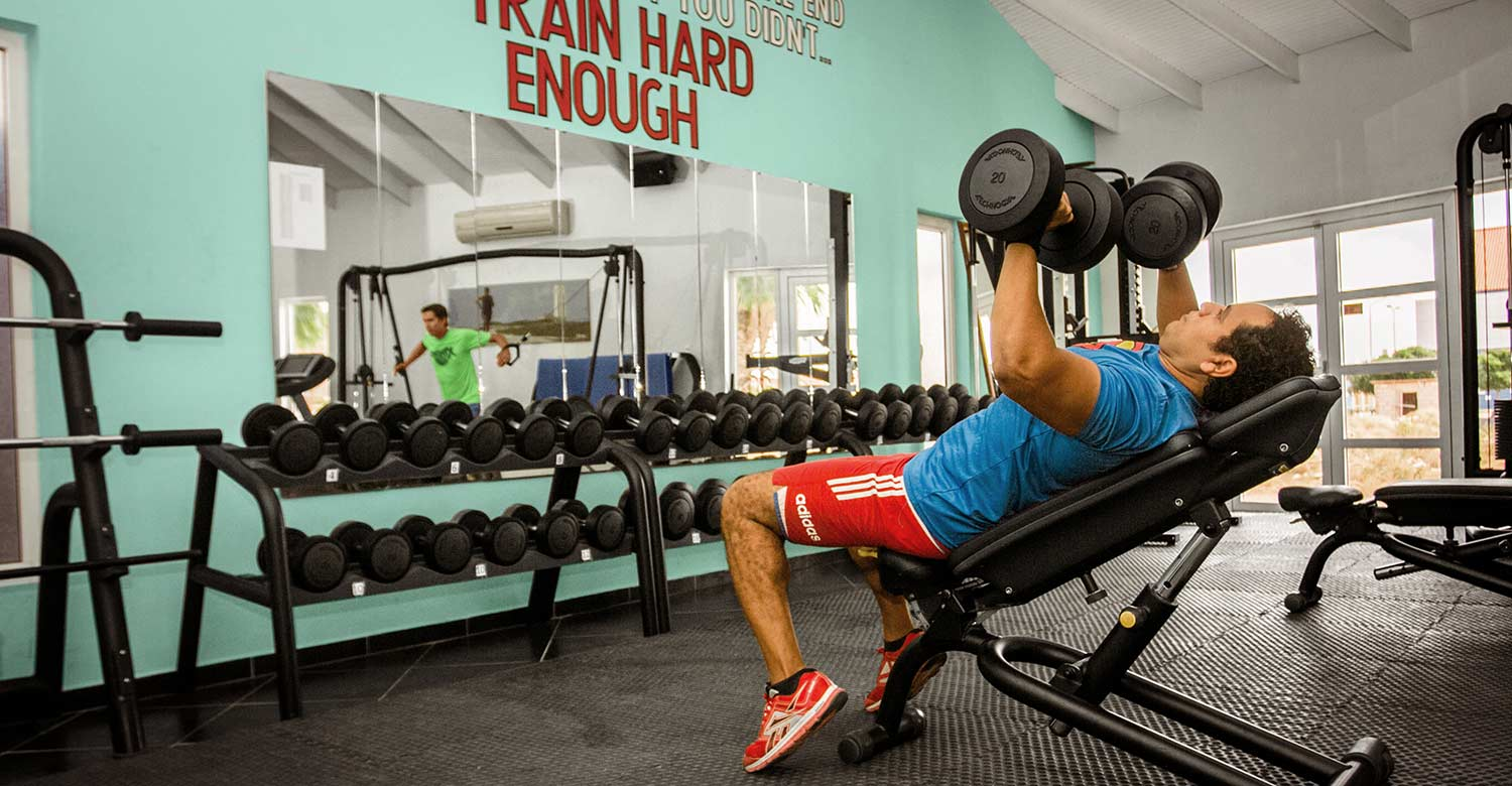 Free standing weights are available in all increments for the best training.