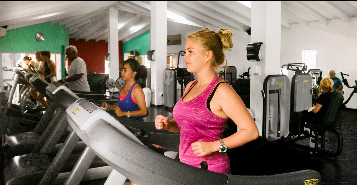 Cardio-fitness equipment includes stationery bicycles, rowing machines, treadmills, and cross-trainers.