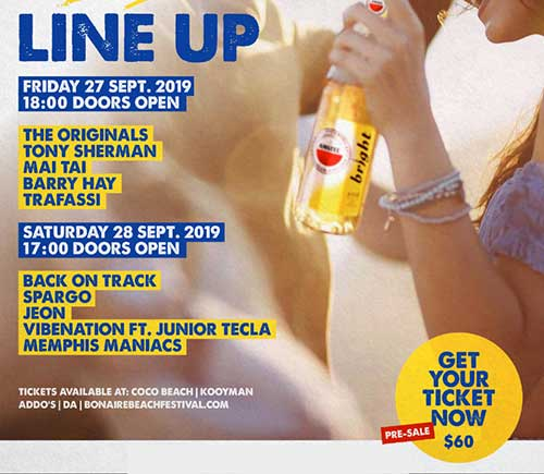 The lineup for the 2019 Bonaire Beach Festival.