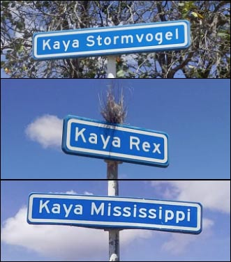Street names of Playa Pabou on Bonaire.,