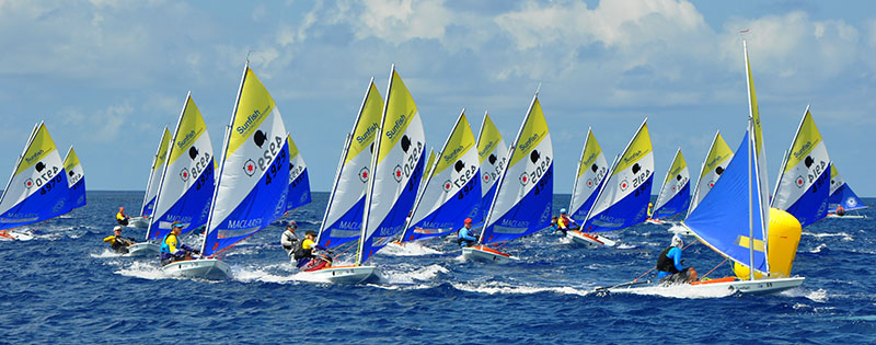 Competition is fierce at the Sunfish Worlds 2019 held on Bonaire.