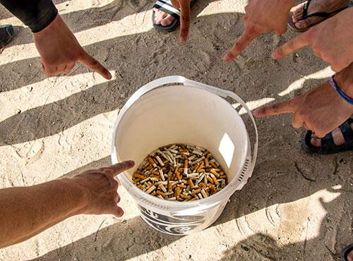 Cigarette butts collected by Clean Coast Bonaire.