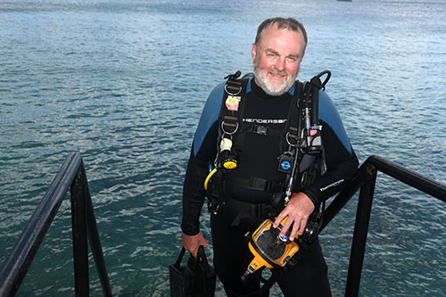Davin Goodwin, returning from a dive on Bonaire.