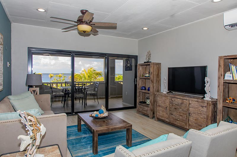 The living area in a two-bedroom condo at Sand Dollar.