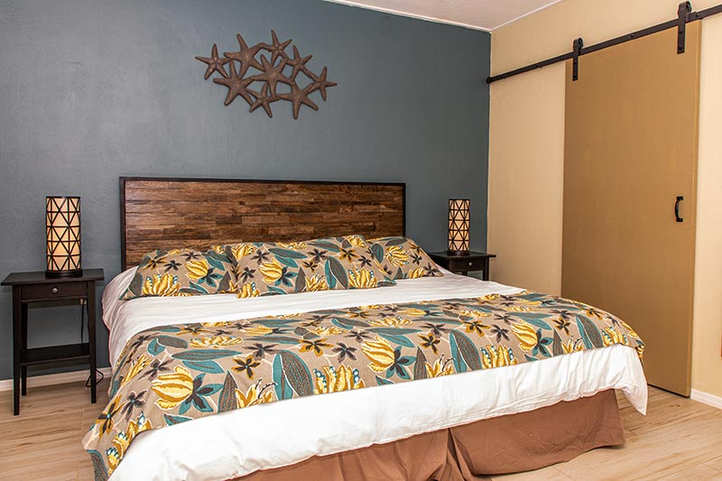 The master-bedroom in a two-bedroom condo at Sand Dollar.
