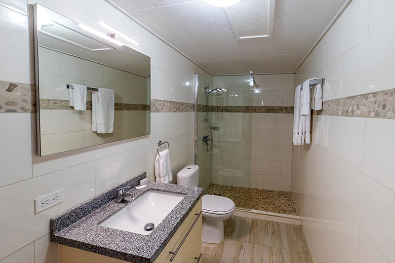 The bathroom in a three-bedroom condo at Sand Dollar.