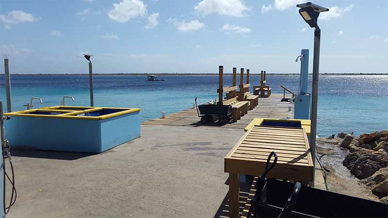 The diving dock at Sand Dollar Condominiums.