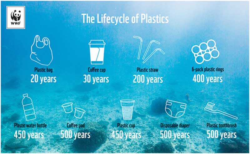 The life-cycle of plastics.